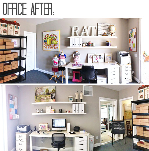 Office Makeover Re-decorating AFTER via lilblueboo.com #decor #office #diy #homedecor #organization #thrifting