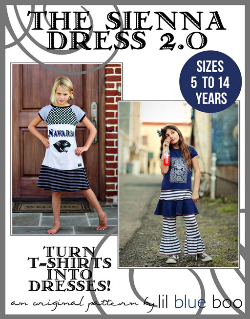 The Sienna Dress 2.0 PDF Sewing Pattern and Tutorial Sizes 5 to 14 via lilblueboo.com