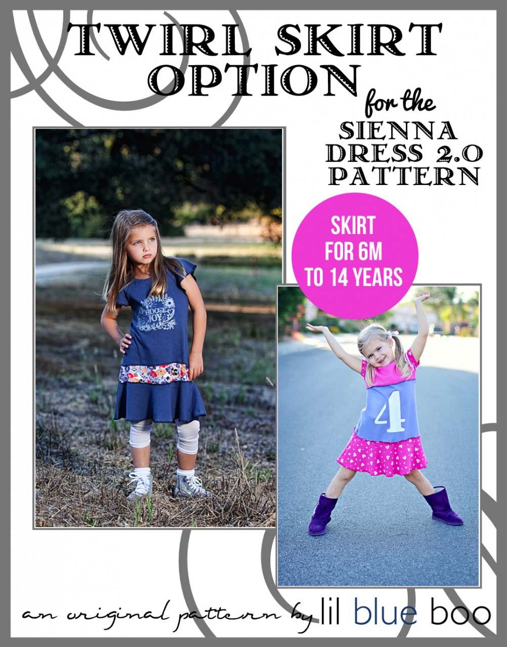 Twirl Skirt Option for the Sienna Dress 2.0 Sewing Pattern via lilblueboo.com