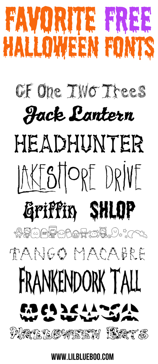 Favorite Free Halloween Fonts via lilblueboo.com