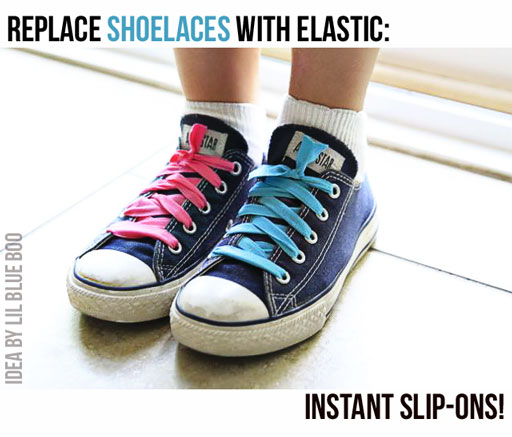 Turn lace up shoes into slip-ons via lilblueboo.com #diy #tutorial #kids