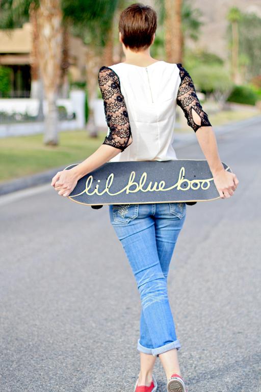 Ashley Hackshaw Lil Blue Boo via lilblueboo.com #skateboard #diy #gift #handmade