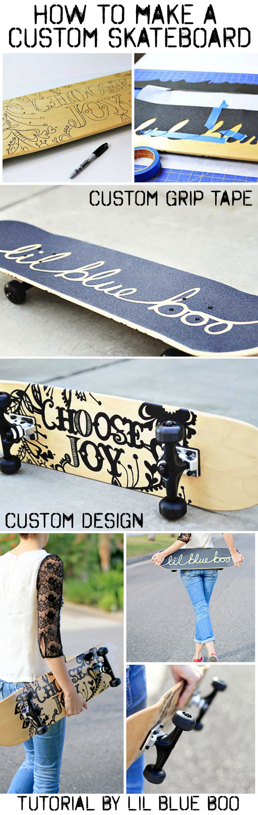 How to make and paint a custom skateboard (custom grip tape to custom design) Great birthday party idea, Christmas gift, etc. via lilblueboo.com #skateboard #diy #griptape #custom #tutorial #gifts #handmadegifts