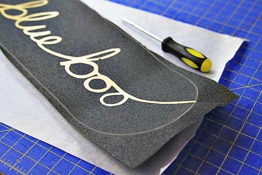 How to customize and apply grip tape to a skateboard via lilblueboo.com #skateboard #diy #gift #handmade