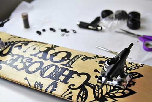 How to attach trucks and wheels to a skateboard  via lilblueboo.com #skateboard #diy #gift #handmade