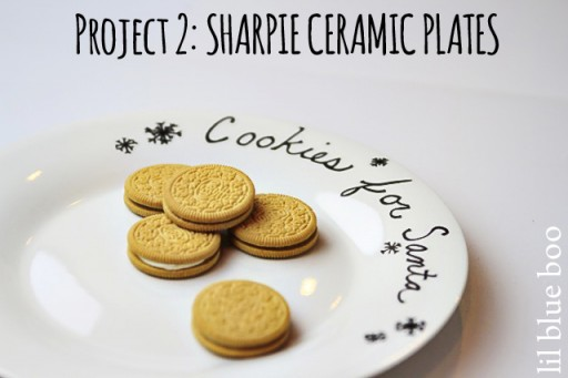 4 Pinterest Party Craft Projects: Sharpie Marker Ceramic Plate via lilblueboo.com #sharpie