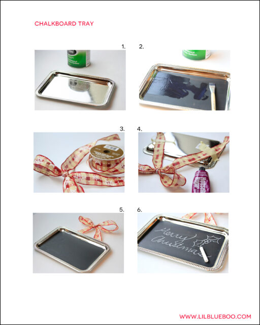 Free Chalkboard Paint Dollar Store Tray Tutorial PDF Instructions for a Pinterest Craft Party via lilblueboo.com