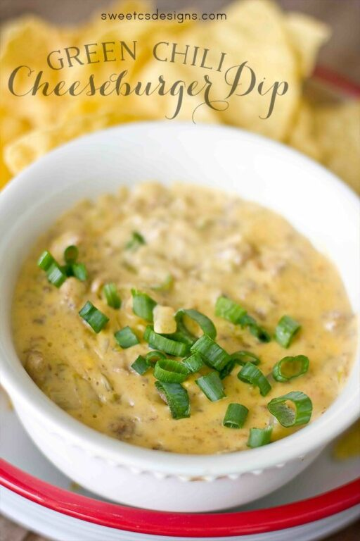Football Food: Green Chili Cheeseburger Dip via Sweet C's Designs  | Ashley Hackshaw / lilblueboo.com