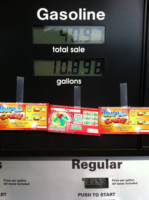 Random Acts of Kindness Week: Tape scratch tickets to a gas pump via Ashley Hackshaw / lilblueboo.com