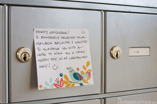 Random Acts of Kindness Week: place a kind note on a mailbox via Ashley Hackshaw / lilblueboo.com