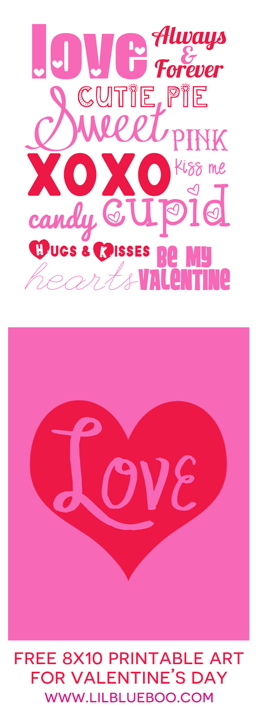 Free 8x10 Valentines day free printable art prints via Ashley Hackshaw / lilblueboo.com