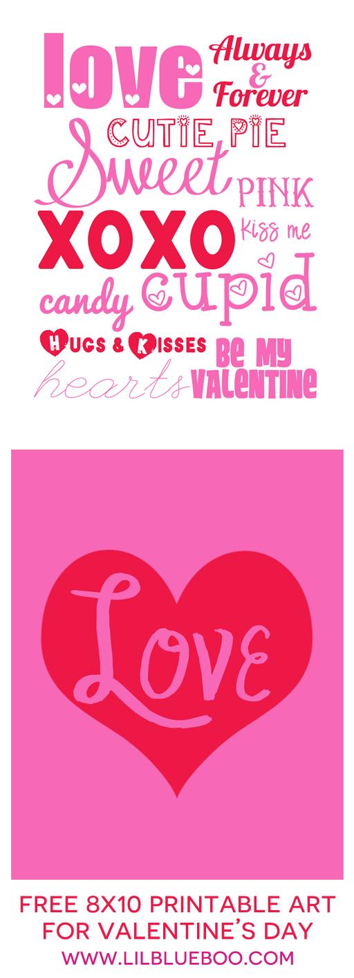 Free 8x10 Valentines day free printable art prints via Ashley Hackshaw / lilblueboo.com