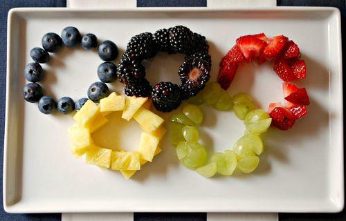 The Olympic Games Party Treat Ideas: Fruit Tray via Ashley Hackshaw / lilblueboo.com