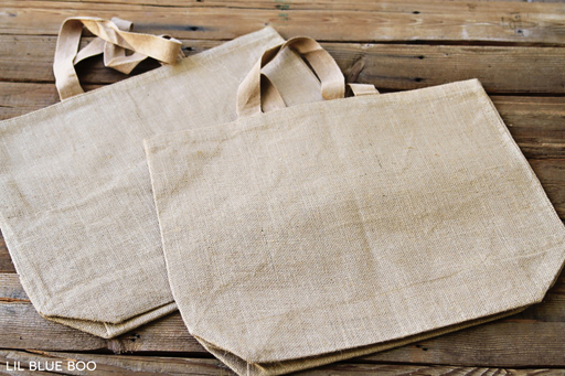 Use Blank Burlap or Jute Bags via Ashley Hackshaw / lilblueboo.com