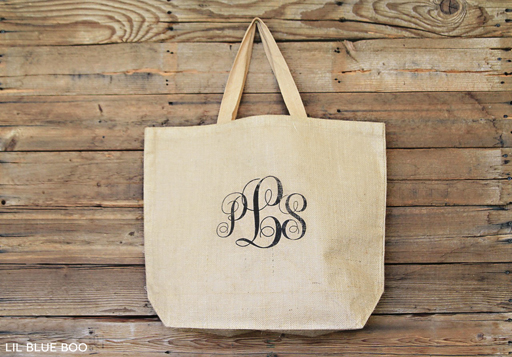 Bridesmaid Gift Idea or Graduation Gift Idea: Add a monogram to your personalized burlap bag via Ashley Hackshaw / lilblueboo.com #graduation #wedding #bridesmaidgift #diy #burlap #rustic