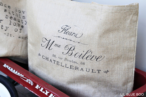A personalized burlap bag make a great gift via Ashley Hackshaw / lilblueboo.com