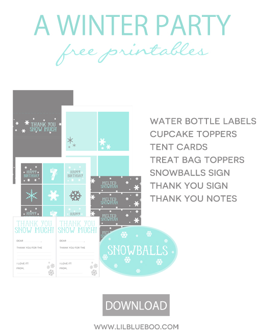 Free Birthday Party Printables for a Frozen Winter Snowflake Birthday Party in Turquise, Blue, Grey and White via Ashley Hackshaw / lilblueboo.com #frozen