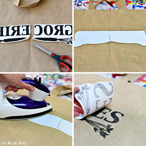 Transfer Paper Process for Personalized Bags via Ashley Hackshaw / lilblueboo.com