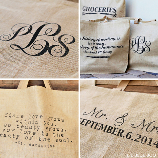 Add a quote, monogram, wedding date and more to a burlap bag via Ashley Hackshaw / lilblueboo.com