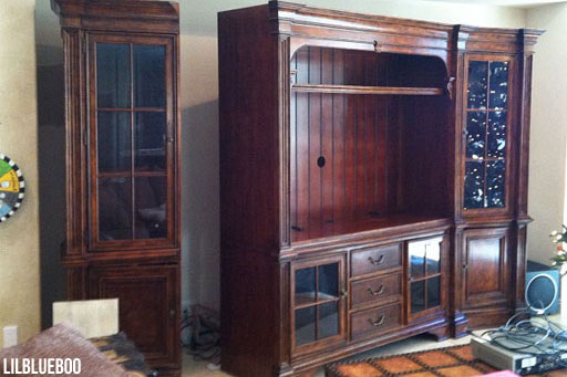 The BEFORE of our refinished TV cabinet (distressed ivory) refinished furniture via Ashley Hackshaw / Lil Blue Boo #homedecor #livingroom #office #diy