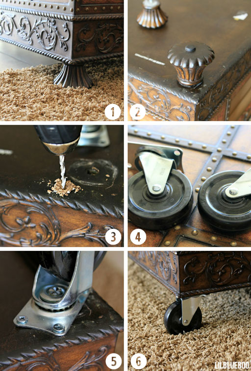 Adding Casters to a table via Ashley HAckshaw / Lil Blue Boo #tutorial #diy