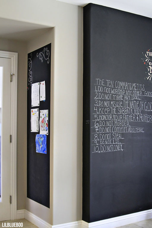 DIY Chalkboard Wall and Magnetic Wall Kitchen  - Makeover / Renovation - by Ashley Hackshaw / Lil Blue Boo via lilblueboo.com