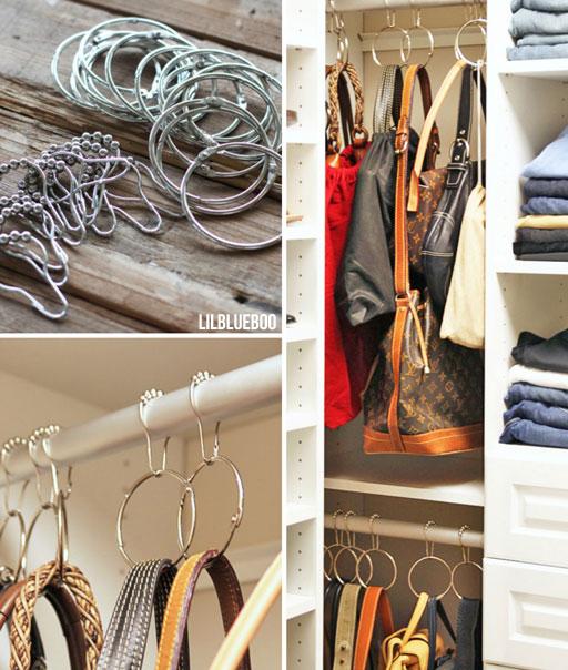 Master Closet - organizing and hanging handbags in closet via lilblueboo.com #organization #storage #closet