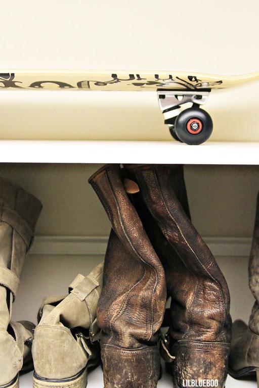 My closet - DIY skateboard and Frye boots via lilblueboo.com