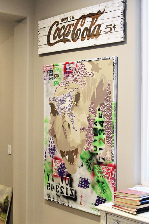 Art made for the office: Pop Art Dinosaur and vintage-inspired Coca-Cola sign via Ashley HAckshaw / Lil Blue Boo