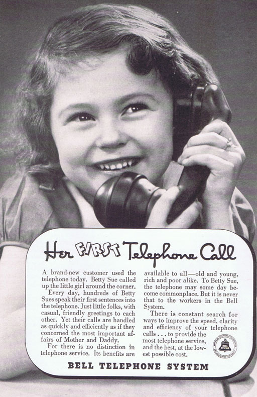 A first phone call vintage telephone ad via Ashley Hackshaw / Lil Blue Boo