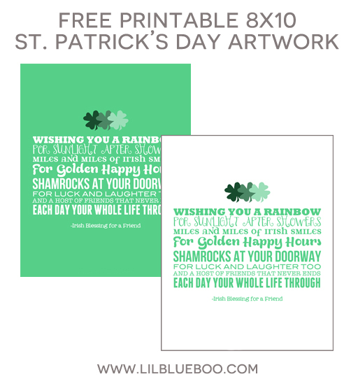 Free St. Patrick's Day 8x10 Printable Artwork via Ashley Hackshaw / lilblueboo.com