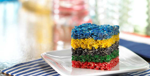 The Olympic Games Party Treat Ideas: Rice Krispie Treats via Ashley Hackshaw / lilblueboo.com