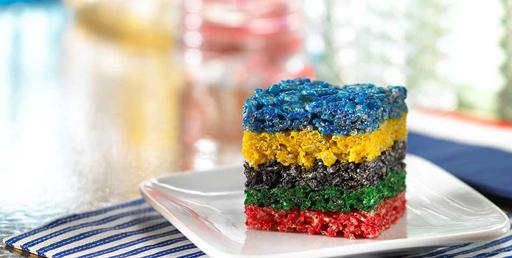 The Olympic Games Party Treat Ideas: Rice Krispie Treats via Ashley Hackshaw / lilblueboo.com