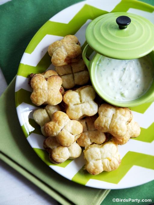 St. Patrick's Day Food Ideas: Four Leaf Clover Bites by Bird's Party via Ashley Hackshaw / lilblueboo.com