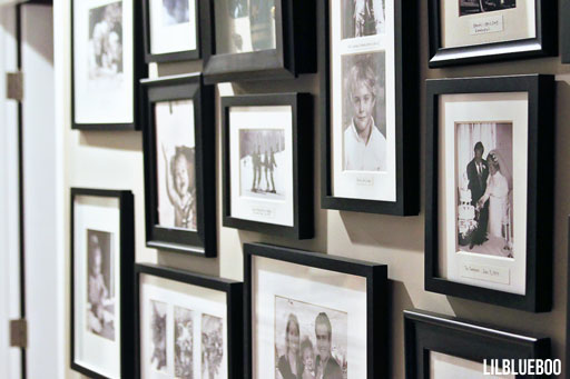 Photo Wall via Ashley Hackshaw / Lil Blue Boo #homedecor #photography #photowall #office #diy