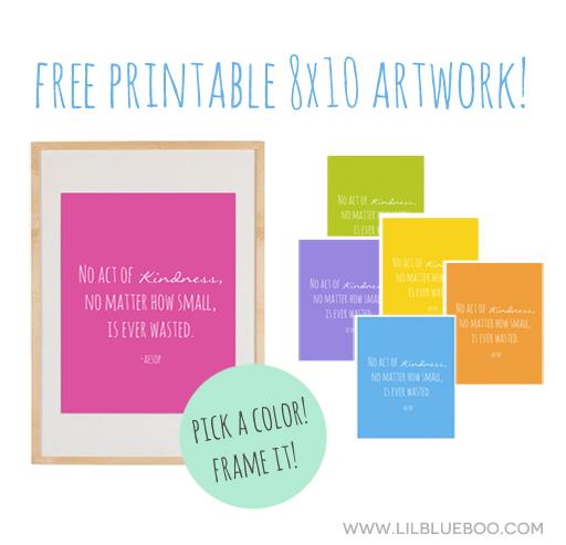 Free Printable 8x10 Kindness Quote via Ashley Hackshaw / lilblueboo.com