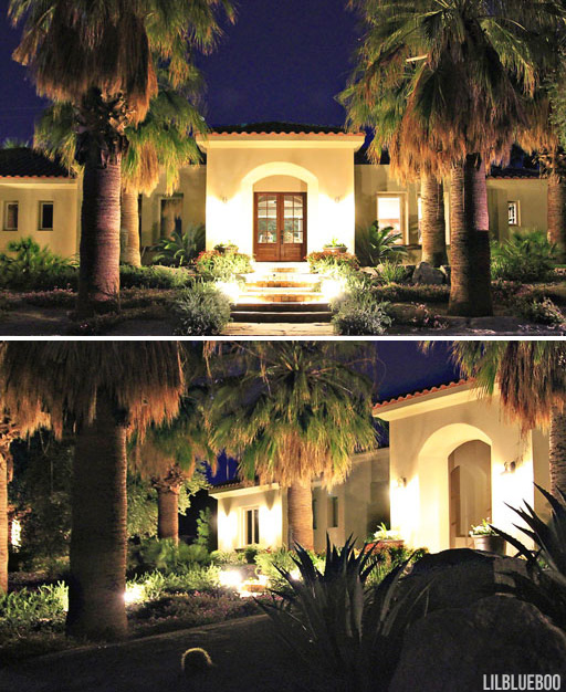 the new landscape lighting at night - Desert Architecture / Landscape Design Ideas via Ashley Hackshaw / Lil Blue Boo