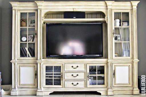 Our refinished TV cabinet (distressed ivory) refinished furniture via Ashley Hackshaw / Lil Blue Boo #homedecor #livingroom #office #diy