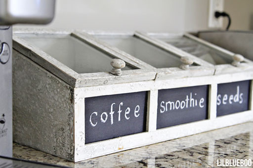 Rustic Kitchen Counter Storage Idea - I got this container from Michaels Craft Stores - Kitchen and Laundry Makeover / Renovation  via Ashley Hackshaw / Lil Blue Boo
