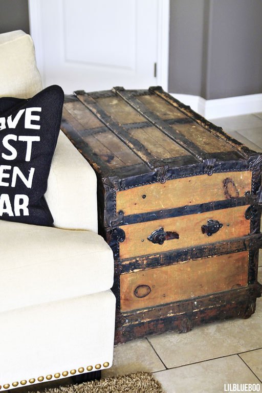 An old steamer trunk used as our side table