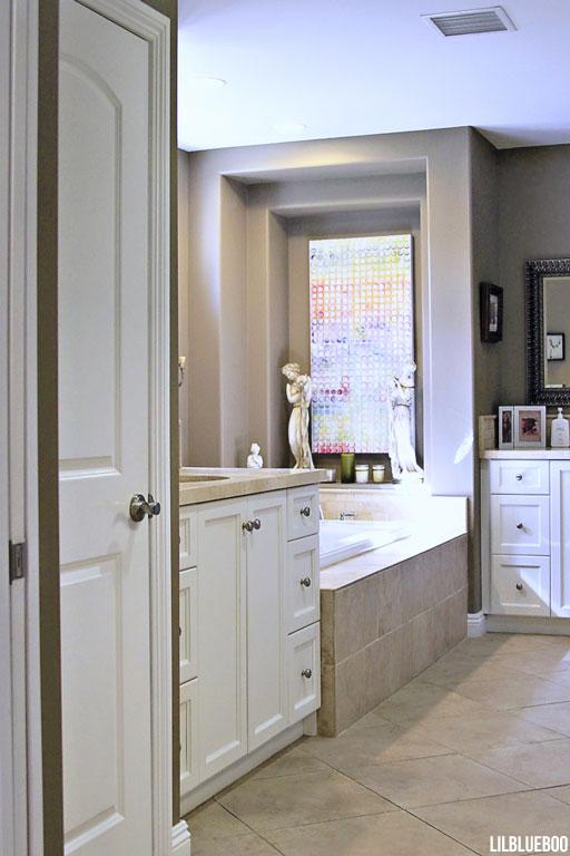 The Master Bathroom - Travertine and Porcelain Tile - Master Bath decor idea via lilbliueboo.com #masterbath #bathdecor