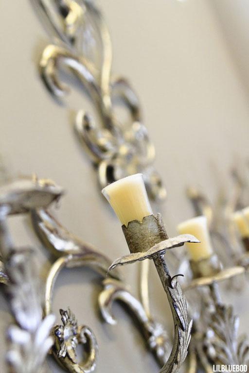 Our master bathroom - decor ideas - large candelabra over tub via lilblueboo.com #tub #bath #decor