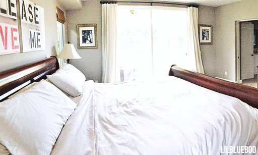 Wide angle of Master Bedroom - White Linens, Requisite Gray Walls Sherwin Williams via lilblueboo.com