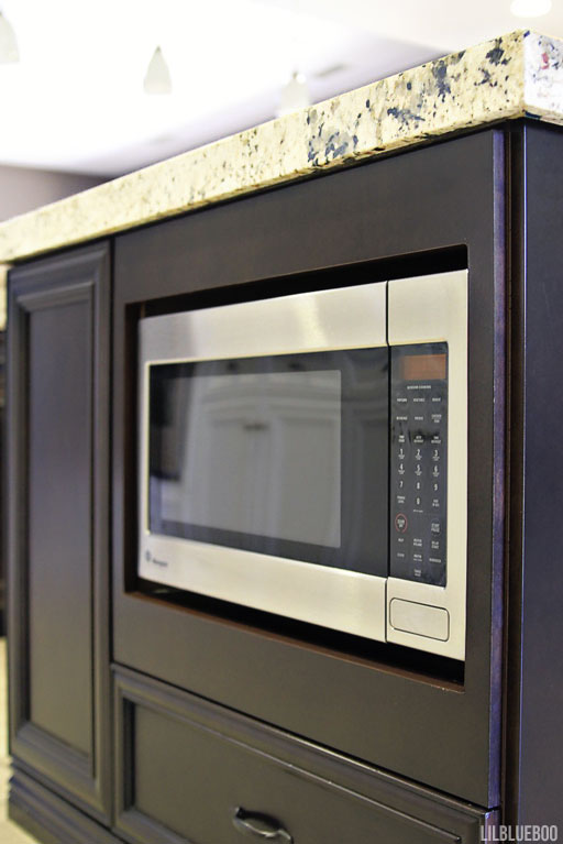 Under cabinet microwave storage (My Kitchen and Laundry Makeover / Renovation) - via Ashley Hackshaw / Lil Blue Boo