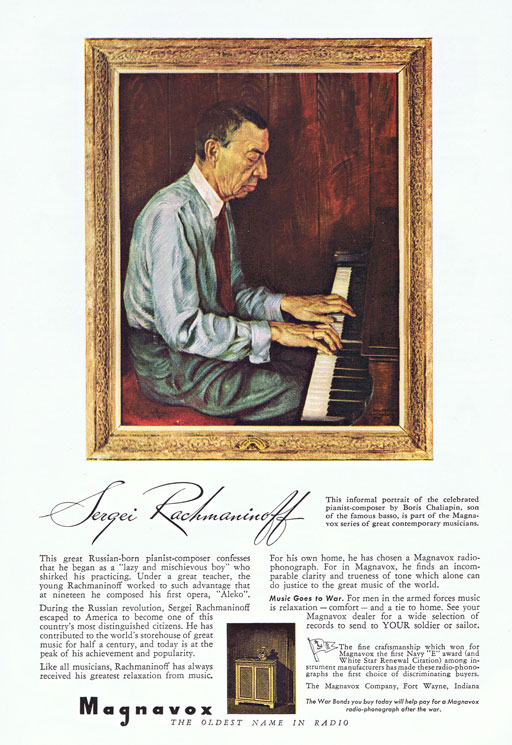 Rachmaninoff Vintage Magnivox Ad via Ashley Hackshaw / Lil Blue Boo