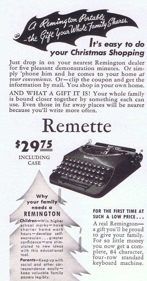 Vintage Remington Typewriter Ad via Ashley Hackshaw / Lil Blue Boo