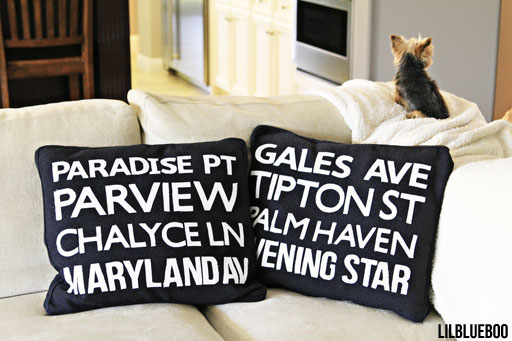 DIy subway art pillows