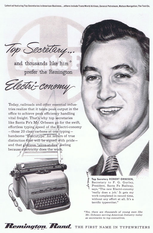 Secretary Vintage Typewriter Ad c. 1940s via Ashley Hackshaw / Lil Blue Boo