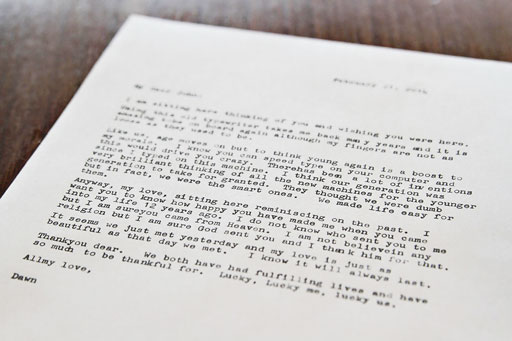 Typewritten love Letter (Type In 2014 Rancho Mirage Library) via Ashley Hackshaw / Lil Blue Boo