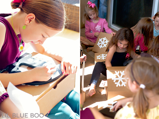 Birthday activities - learn how to draw a snowflake at a Frozen Winter Birthday Party via Ashley Hackshaw / lilblueboo.com #frozen